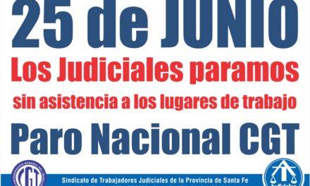 EL 25 DE JUNIO LOS JUDICIALES PARAMOS