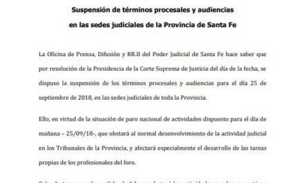 Martes 25: Suspensión de términos procesales y audiencias en las sedes judiciales de toda la Provincia