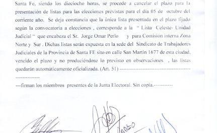 FINALIZÓ EL PLAZO PARA LA PRESENTACIÓN DE LISTAS