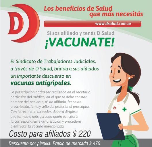 DESCUENTO EN VACUNAS ANTIGRIPALES PARA AFILIADOS POSEEDORES DE DSALUD (EX FARMAS)
