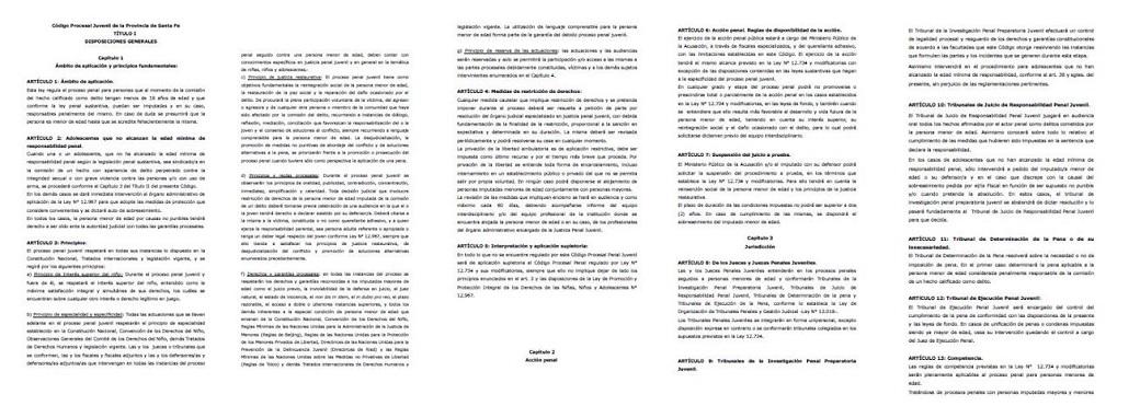 PROGRAMA SANTA FE + JUSTICIA: ANTEPROYECTO  DE CÓDIGO PROCESAL JUVENIL Y DE LEY DE PROTECCIÓN A LA VÍCTIMAS